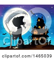Grim Reaper Holding A Scythe Against A Full Moon Near A Haunted House