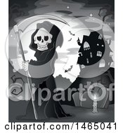 Clipart Of A Grim Reaper Holding A Scythe In A Cemetery Near A Haunted House Royalty Free Vector Illustration by visekart