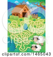 Maze With Sheep And A Barn