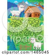 Clipart Of A Maze Of Goats And A Barn Royalty Free Vector Illustration by visekart