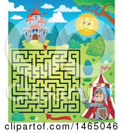 Clipart Of A Maze Of A Knight Emerging From A Tent Near A Castle Royalty Free Vector Illustration