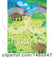 Clipart Of A Maze With Wild Boars Royalty Free Vector Illustration by visekart