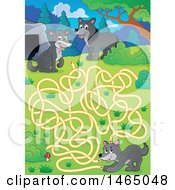 Clipart Of A Maze With Wolves Royalty Free Vector Illustration by visekart
