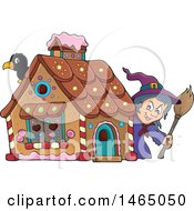 Clipart Of A Crow And Witch At A Gingerbread House In The Story Of Hansel And Gretel Royalty Free Vector Illustration by visekart