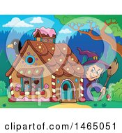 Clipart Of A Crow And Witch At A Gingerbread House In The Woods Hansel And Gretel Royalty Free Vector Illustration by visekart