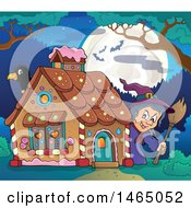 Clipart Of A Crow And Witch At A Gingerbread House At Night Hansel And Gretel Royalty Free Vector Illustration by visekart