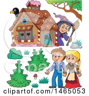 Clipart Of A Witch Watching A Brother And Sister Hansel And Gretel Near The Gingerbread House Royalty Free Vector Illustration by visekart