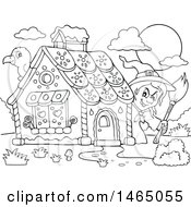 Clipart Of A Black And White Crow And Witch At A Gingerbread House In The Story Of Hansel And Gretel Royalty Free Vector Illustration