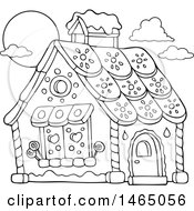 Clipart Of A Black And White Hansel And Gretel Gingerbread House Royalty Free Vector Illustration by visekart