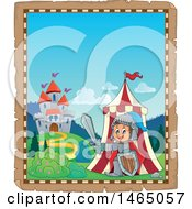 Clipart Of A Parchment Page Of A Knight Emerging From A Tent Near A Castle Royalty Free Vector Illustration