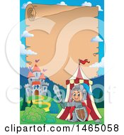 Clipart Of A Parchment Scroll Page Of A Knight Emerging From A Tent Near A Castle Royalty Free Vector Illustration