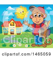 Clipart Of A Monkey Student Waving By A School Building Royalty Free Vector Illustration
