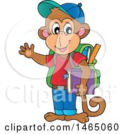 Clipart Of A Monkey Student Waving Royalty Free Vector Illustration