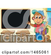 Clipart Of A Monkey Student Presenting A Blackboard Royalty Free Vector Illustration