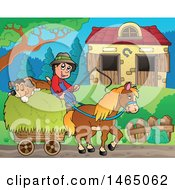 Clipart Of A Boy And Dog On A Horse Cart Near A Barn Royalty Free Vector Illustration