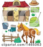 Clipart Of A Horse Near A Barn Royalty Free Vector Illustration by visekart