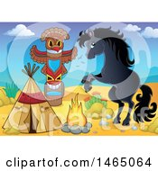Clipart Of A Rearing Horse By A Native American Desert Camp Royalty Free Vector Illustration