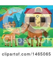 Clipart Of A Foal And Horse Near A Barn Royalty Free Vector Illustration by visekart