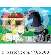 Clipart Of Horses Near A Barn Royalty Free Vector Illustration by visekart