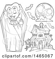 Clipart Of A Black And White Vampire Full Moon And Haunted House Royalty Free Vector Illustration