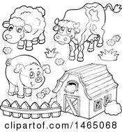 Black And White Barn With A Cow Sheep And Pig