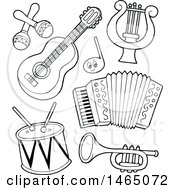 Clipart Of Black And White Musical Instruments Royalty Free Vector Illustration by visekart