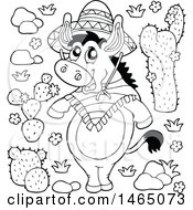 Clipart Of A Black And White Mexican Donkey And Cactus Plants Royalty Free Vector Illustration