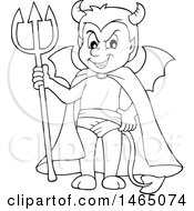 Clipart Of A Black And White Devil Royalty Free Vector Illustration by visekart