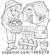 Black And White Female Farmer With A Barn Hay Bushel Of Apples Bucket And Fence