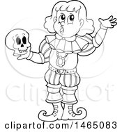 Clipart Of A Black And White Male Actor Playing Hamlet And Holding A Skull Royalty Free Vector Illustration by visekart
