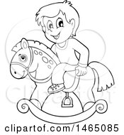 Black And White Boy On A Rocking Horse