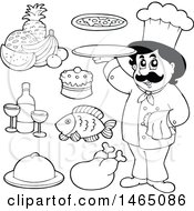 Black And White Chef With Foods