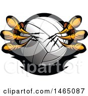 Clipart Of Eagle Talons Shredding A Volleyball Royalty Free Vector Illustration