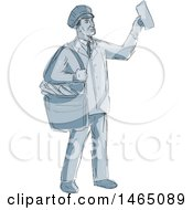 Sketched Retro Mailman Holding Up An Envelope
