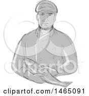 Sketched Grayscale Retro Fishmonger Holding A Fish