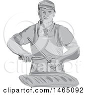 Clipart Of A Sketched Grayscale Retro Butcher Sharpening A Knife Over A Cut Of Meat Royalty Free Vector Illustration