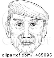 Sketched Male Face Wearing A Beret Hat