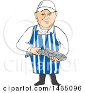Sketched Male Fishmonger Holding A Small Fish