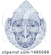 Clipart Of A Cat Ba Langur Face In Blue Mandala Sketch Style Royalty Free Vector Illustration