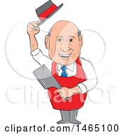 Clipart Of A Sketched Male Butcher Holding A Meat Cleaver And Holding His Hat Royalty Free Vector Illustration