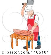 Sketched Male Butcher Cutting Meat On A Chopping Block