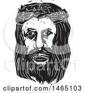 Clipart Of The Face Of Jesus Christ With Thorns In Black And White Woodcut Style Royalty Free Vector Illustration