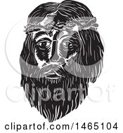 The Face Of Jesus Christ With Thorns In Black And White Woodcut Style