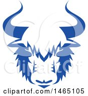 Yak Head In Blue And White Retro Style