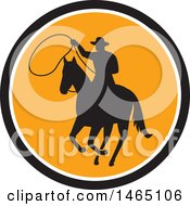 Retro Silhouetted Roping Cowboy In Horseback In A Black White And Orange Circle