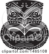New Zealand Maori Koruru Tiki Mask In Black And White Woodcut Style