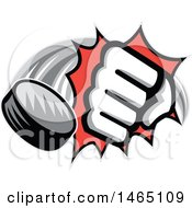 Clipart Of A Fisted Hand Breaking Through A Wall And A Hockey Puck Royalty Free Vector Illustration by patrimonio