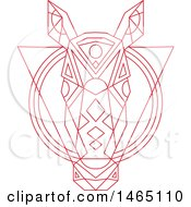 Clipart Of A Red Geometric Styled Horse Head Over A Triangle And Circles Royalty Free Vector Illustration