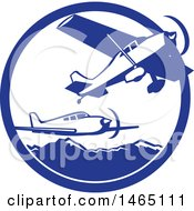 Clipart Of Retro Airplanes Over Mountains In A Blue And White Circle Royalty Free Vector Illustration