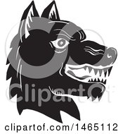 Clipart Of A Profiled Angry Wolf Head Black And White Woodcut Style Royalty Free Vector Illustration by patrimonio